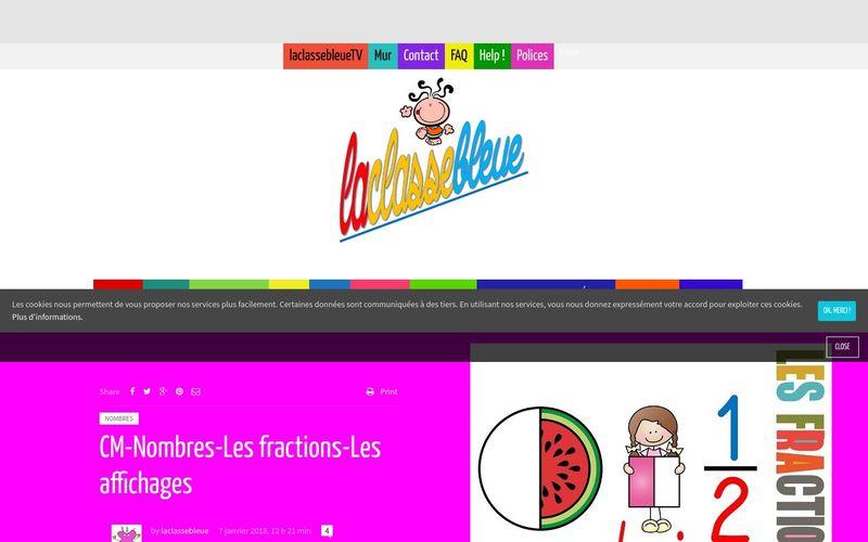 CM-Nombres-Les fractions-Les affichages : La classe bleue